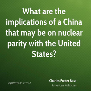 ... of a China that may be on nuclear parity with the United States