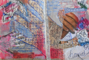 Finished this art journal page recently. I used my darning foot to sew ...