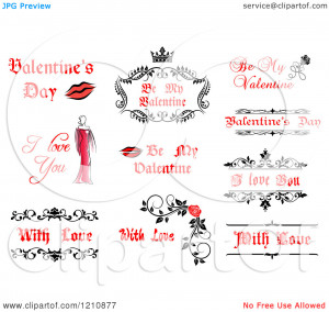 Clipart of Valentine Greetings and Sayings 8 - Royalty Free Vector ...