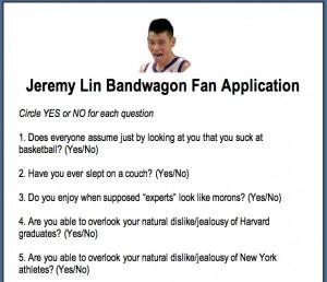 Jeremy Lin Bandwagon Fan Application