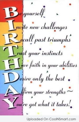Birthday Quotes, Sayings for 40th, 50th, 60th birthdays