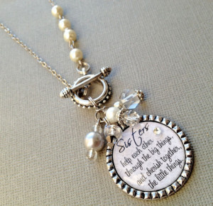 SISTER gift- PERSONALIZED necklace- wedding quote, birthday gift, maid ...