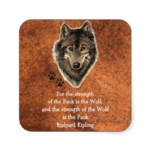 Watercolor Wolf Track Family Quote by Kipling Square Sticker