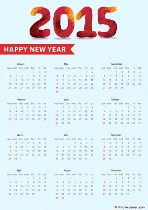 2015 Calendar, Happy New Year 2015