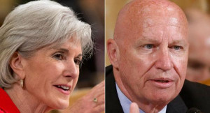 Kathleen Sebelius and Rep. Kevin Brady are shown. | AP Photos