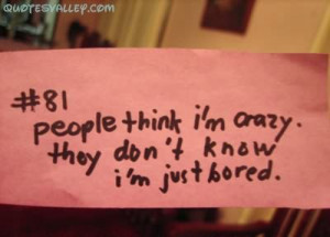 People Think I'm Crazy. They Don't Know I'm Just Bored.