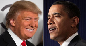 Donald Trump (left) and Barack Obama are pictured in this composite ...
