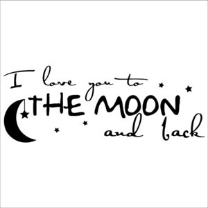 You To The Moon And Back wall sayings vinyl lettering art decal quote ...