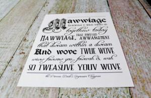 Princess Bride Inspired Typography Print. Wove Twue Wove (Love True ...