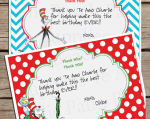 Printable Dr Seuss Cat in the Hat Thank You Cards - Dr Seuss Thank You ...