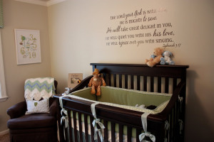 The vinyl bible verse above the crib was applied loving (er ...