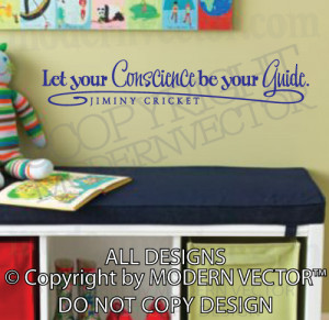 ... JIMINY CRICKET Quote Vinyl Wall Decal Lettering PINOCCHIO Quote