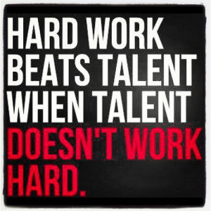 Nice day quote - hard work beats talent when talent doesn't work hard.