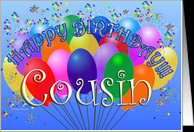 Happy Birthday Cousin Cheerful Colorful Party Balloon birthday bunch ...