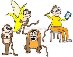 Cute Monkey Cartoon With