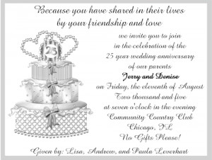 Shop our Store > 25th Silver Wedding Cake Anniversary Party ...
