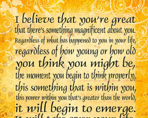 The Secret - I Believe that you' ;re Great - 5x7 Greeting Card - Word ...