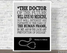 Quote, Doctors Office Dec or, Gift for Doctors, Thomas Edison Quote ...