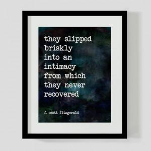 Print F. Scott Fitzgerald Love Literary Quote Wall Art, Decor - 2 ...
