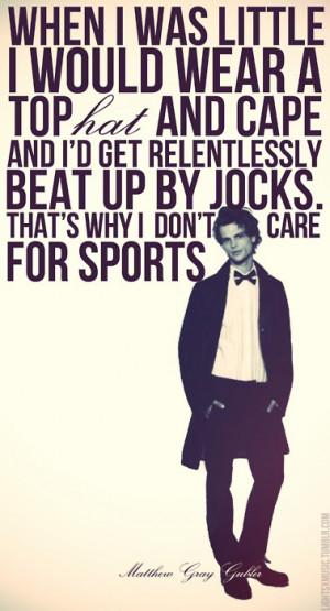 Matthew Gray Gubler on sports...see video where he chucks a football ...