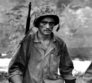 An exhausted American soldier in Saipan, 1944