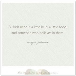 believe in them…