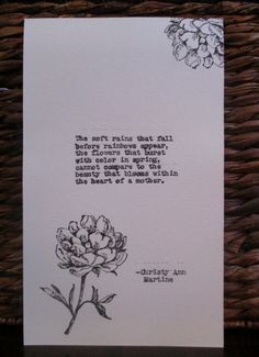 Poem Typed Poem With Hand Stamped Design - Gift for Mother - Mother ...