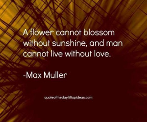 without sunshine man cannot live without love max muller quotes