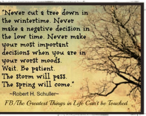 ... . The storm will pass. The spring will come.