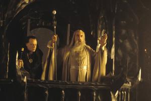 Saruman y Gríma en el balcón de Orthanc -