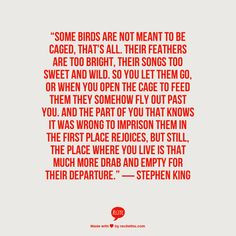 Stephen King Bird Quote, Quotes 3, Caged Bird Quotes, Stephen King ...