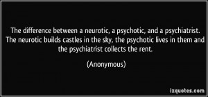 between a neurotic, a psychotic, and a psychiatrist. The neurotic ...