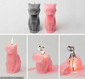 Cat Candle With Metal Skeleton