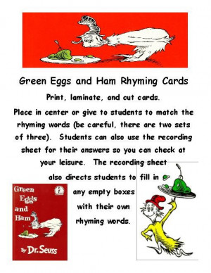 TeacherLingo.com $2.50 - This pack combines my Green Eggs and Ham ...