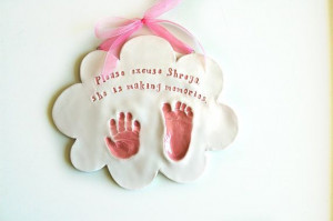 Baby gift hand and footprint in a cloud with a by Dprintsclayful, $74 ...