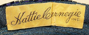 Hattie Carnegie label on a 1933 dress.