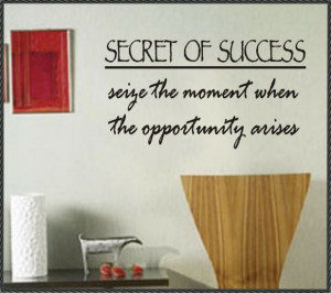 Inspirational Vinyl Wall Quote Secret of Success