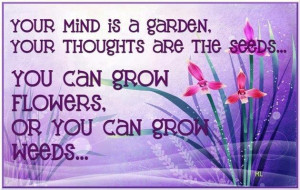 ... thoughts are the seeds ,you can grow flowers,or you can grow weeds