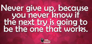 Never give up, because you never know if the next try is going to ...