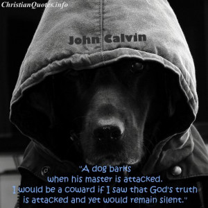 John Calvin Quote - Truth Being Attacked - Dog in a hoodie