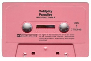 hipster coldplay paradise pink cassette tape casette