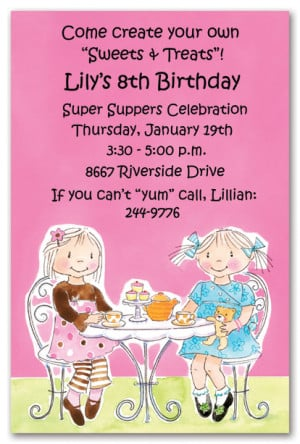 Little Girl Tea Party Birthday Party Invitations
