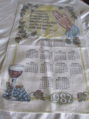 Vintage Calendar Towel with Tennyson quote Vintage Linen Calendar 1982 ...