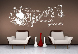 Wall Decals Music Speaks Collage - Vinyl Lettering Text Wall Words ...