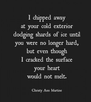 ... poem by Christy Ann Martine #poems #poetry: Cold Heart Quotes, Poem