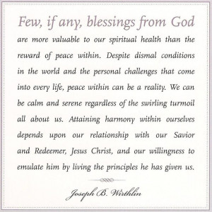 Enduring internal peace is a great blessing, and depends upon our ...