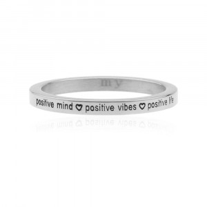 ... Silver Quote Ring - Positive Mind - Positive Vibes - Positive Life