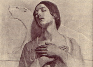 Kamilah, Kahlil's mother. Painting by Kahlil Gibran