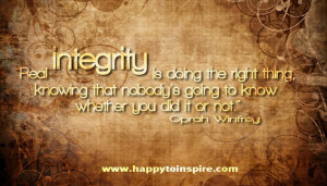 Oprah's Quote on Integrity! :)