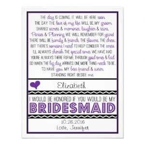 will_you_be_my_bridesmaid_purple_black_poem_card ...